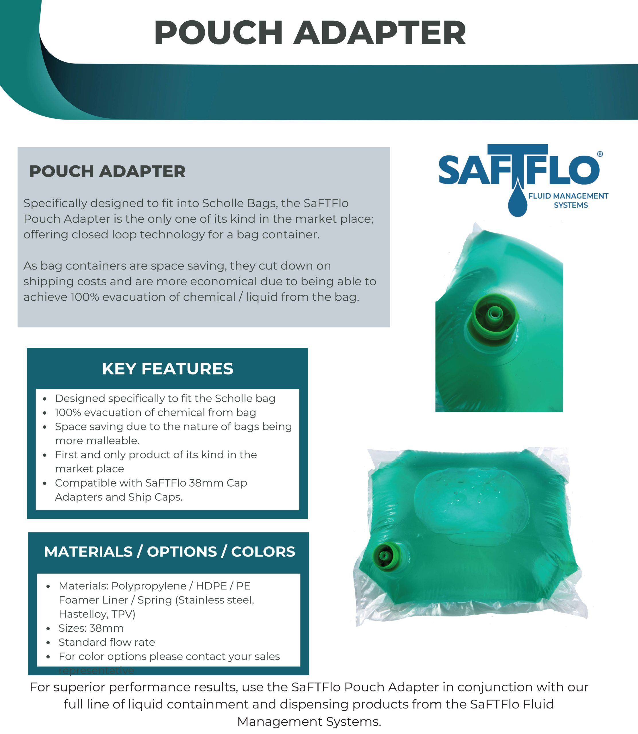 SaFTFlo Fluid Management Systems | Pouch Insert Adapter