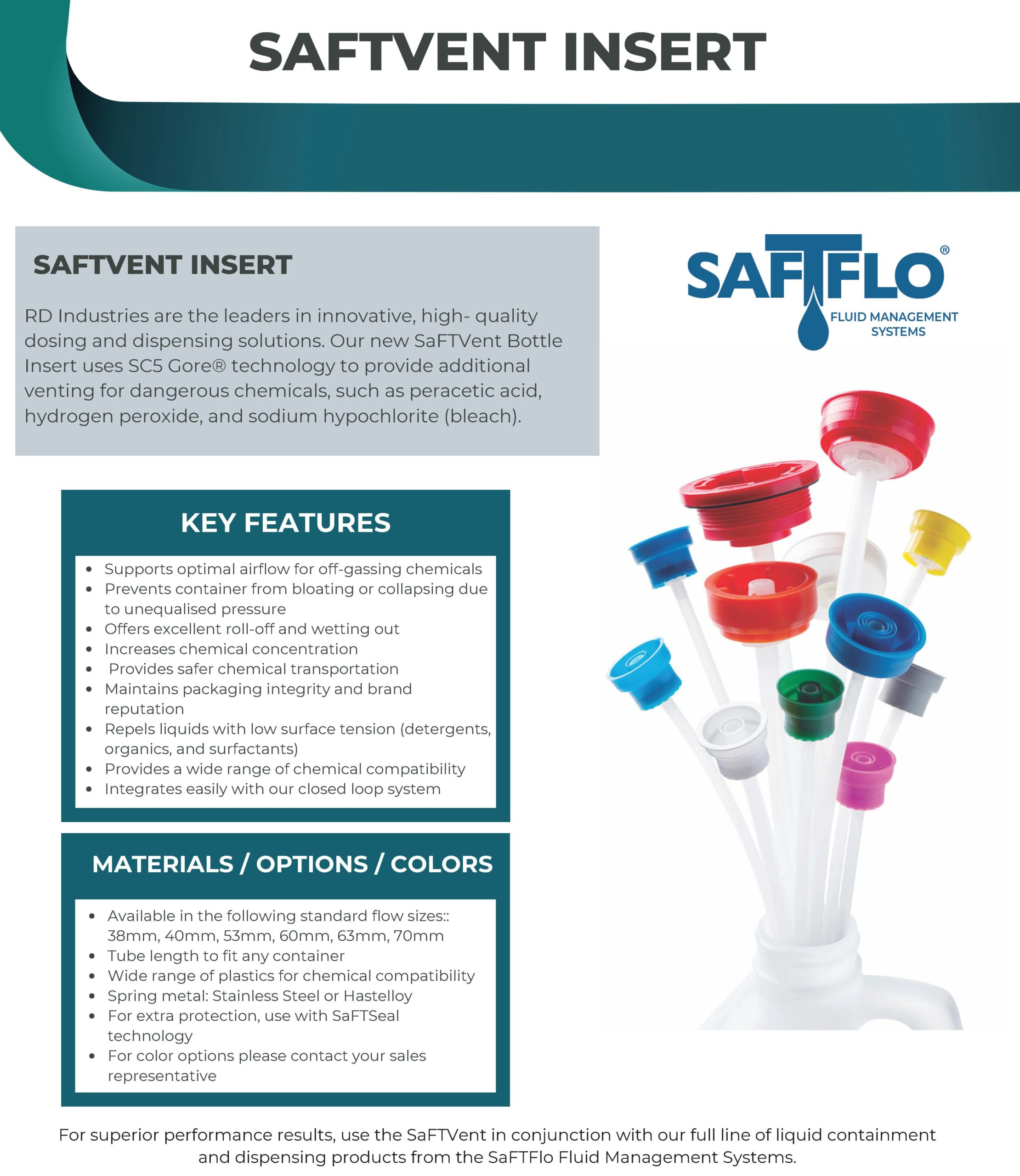 SaFTFlo Fluid Management Systems SaFTVent Bottle Insert