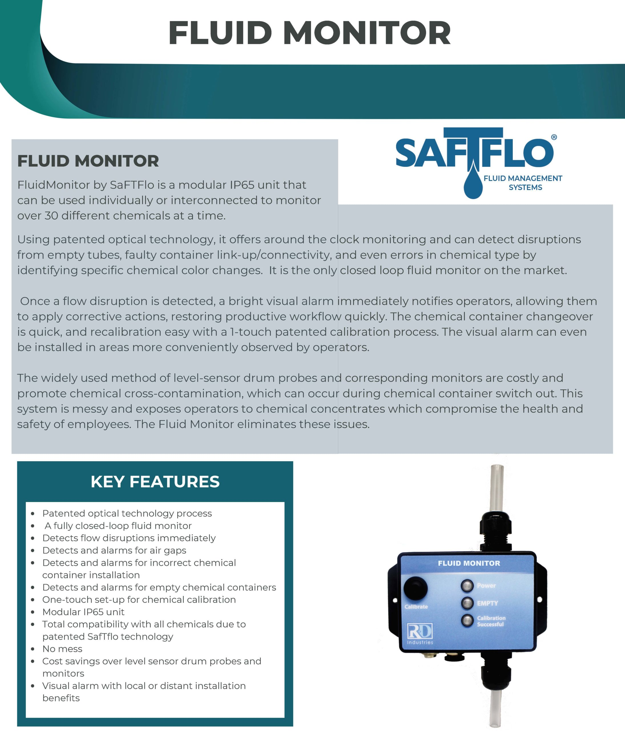 SafTflo Fluid Management System | Fluid Monitor