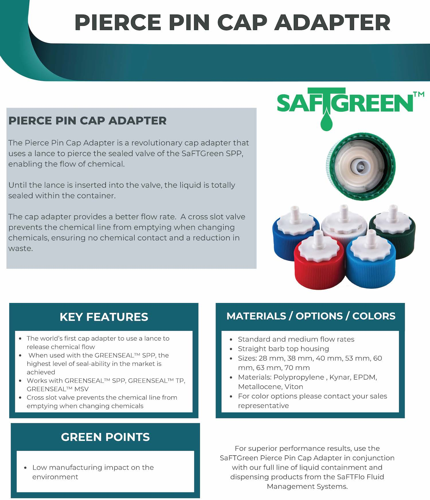 SaFTFlo Fluid Management Systems | SafTGreen PP Cap Adapter