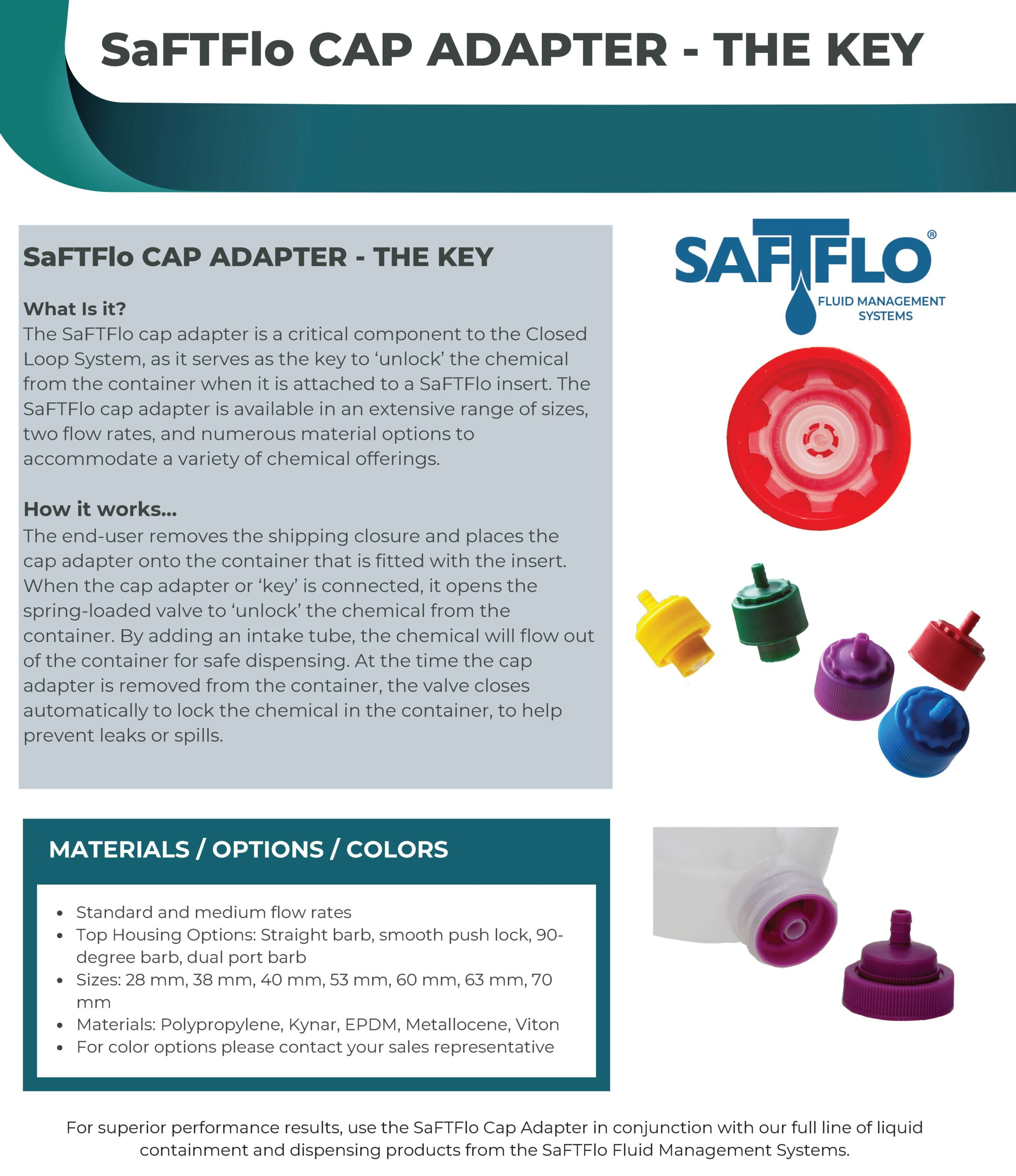 SaFTFlo Fluid Management Systems | Cap Adapters - The key
